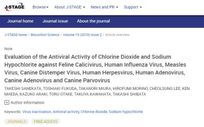 Study: antiviral activity of chlorine dioxide and sodium hypochlorite